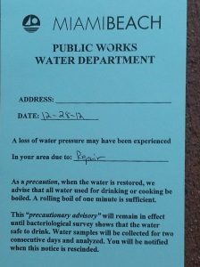 Public Works Water Main Break Notice