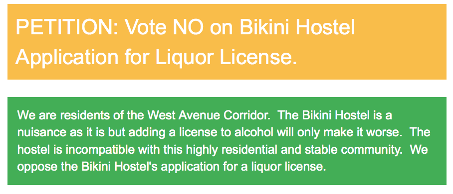 Petition Against Bikini Hostel Liquor License